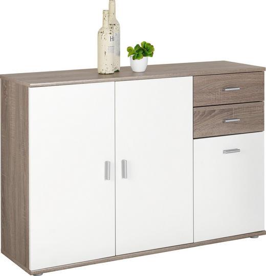 KOMMODE Trüffeleichefarben, Weiß - Silberfarben/Trüffeleichefarben, KONVENTIONELL, Holzwerkstoff/Kunststoff (120/82/35cm)