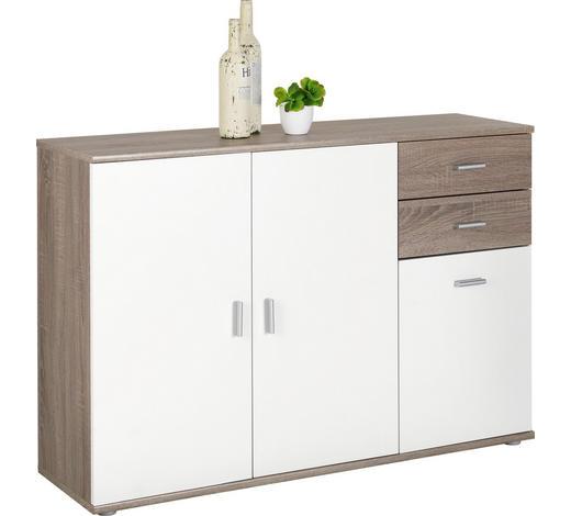 KOMODA, bílá, barvy lanýžového dubu - bílá/barvy stříbra, Konvenční, kompozitní dřevo/umělá hmota (120/82/35cm)