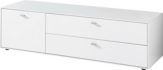 LOWBOARD 137/39/49 cm - Alufarben/Weiß, Design, Holzwerkstoff/Metall (137/39/49cm)