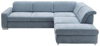 Wohnlandschaft in Hellblau Textil   - Chromfarben/Hellblau, Design, Textil (301/260cm) - Beldomo Style