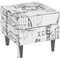 TABURET - bílá/tmavě šedá, Lifestyle, dřevo/textil (49/44/49cm) - Carryhome
