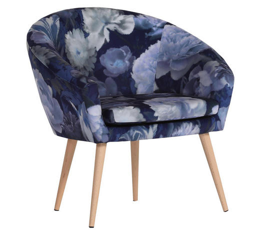 SESSEL Blau, Hellblau, Dunkelblau Flachgewebe - Blau/Dunkelblau, Design, Holz/Textil (73/73/66cm) - Carryhome