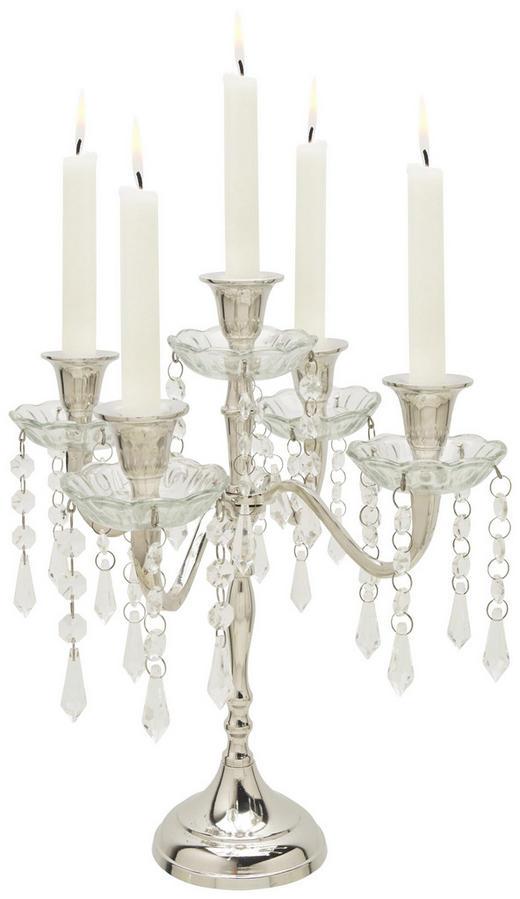 Kerzenhalter - Klar/Silberfarben, Trend, Glas/Metall (31/31/30cm) - Ambia Home