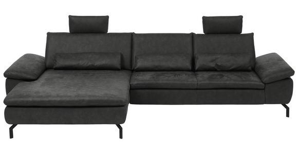 WOHNLANDSCHAFT in Textil Anthrazit  - Anthrazit/Schwarz, Design, Textil/Metall (181/341cm) - Dieter Knoll