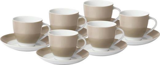 UNTERTASSENSET - Taupe/Weiß, Basics, Keramik (14,5cm)