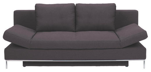 SCHLAFSOFA Flachgewebe Dunkelgrau - Chromfarben/Dunkelgrau, Design, Textil/Metall (203/83/90cm) - NOVEL