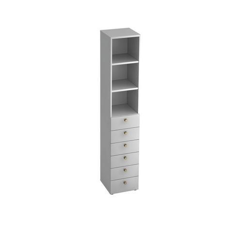 REGAL in Weiß - Alufarben/Weiß, KONVENTIONELL, Holzwerkstoff/Metall (40/215,6/42cm)