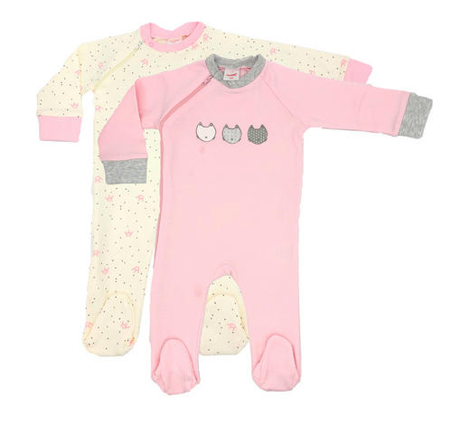 Schlafanzugset 2-tlg. - Rosa/Weiß, Basics, Textil (74null) - My Baby Lou