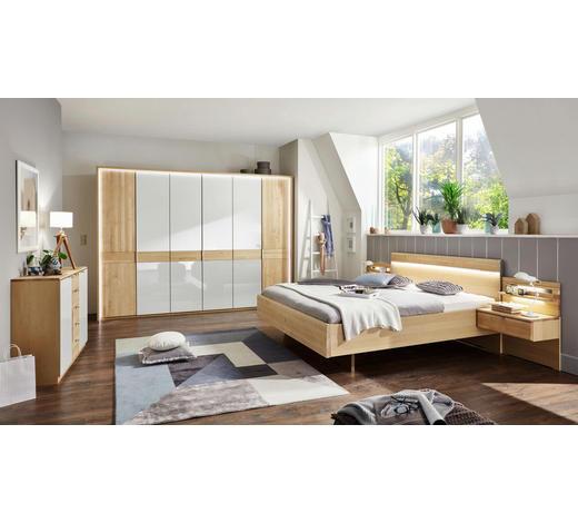 SCHLAFZIMMER in Weiß, Birkefarben - Birkefarben/Weiß, KONVENTIONELL, Glas/Holz (180/200cm) - Venda