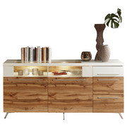 KOMODA SIDEBOARD - bílá/barvy stříbra, Design, dřevěný materiál/sklo (175/80/45cm) - STYLIFE