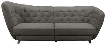 MEGASOFA in Textil Dunkelbraun  - Chromfarben/Dunkelbraun, MODERN, Textil/Metall (256/85/115cm) - Carryhome