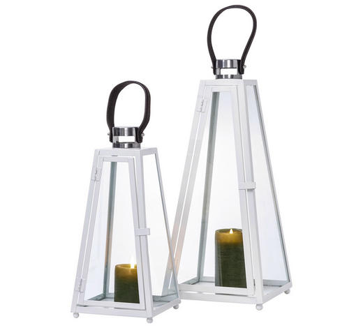 LATERNENSET - Weiß, Basics, Glas/Metall - Ambia Home