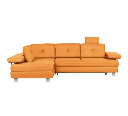WOHNLANDSCHAFT in Textil Orange - Chromfarben/Orange, Design, Textil/Metall (190/288cm) - Hom`in