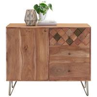 KOMODA, dřevo, kov, akácie, masivní, barvy akácie, bronzová - bronzová/barvy mosazi, Trend, kov/dřevo (105/88/40cm) - Ambia Home