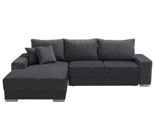 WOHNLANDSCHAFT in Textil Anthrazit  - Anthrazit/Silberfarben, Design, Kunststoff/Textil (196/276cm) - Cantus