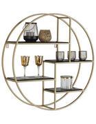 NÁSTĚNNÝ REGÁL, černá, barvy zlata - černá/barvy zlata, Trend, kov/dřevo (80/80/22cm) - Lomoco