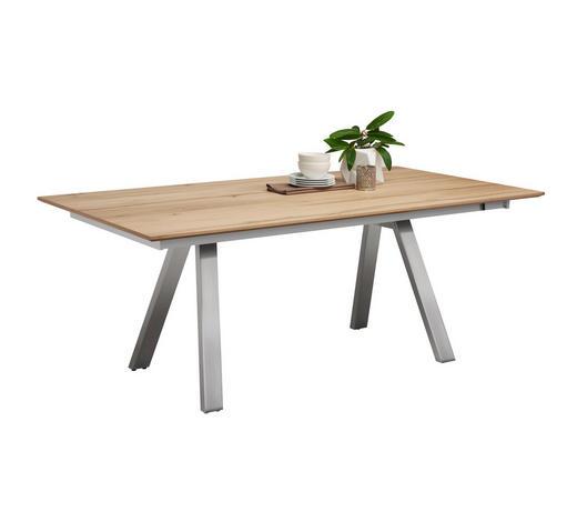 ESSTISCH in Holz, Metall 190/100/75 cm - Edelstahlfarben/Eichefarben, Design, Holz/Metall (190/100/75cm) - Venjakob