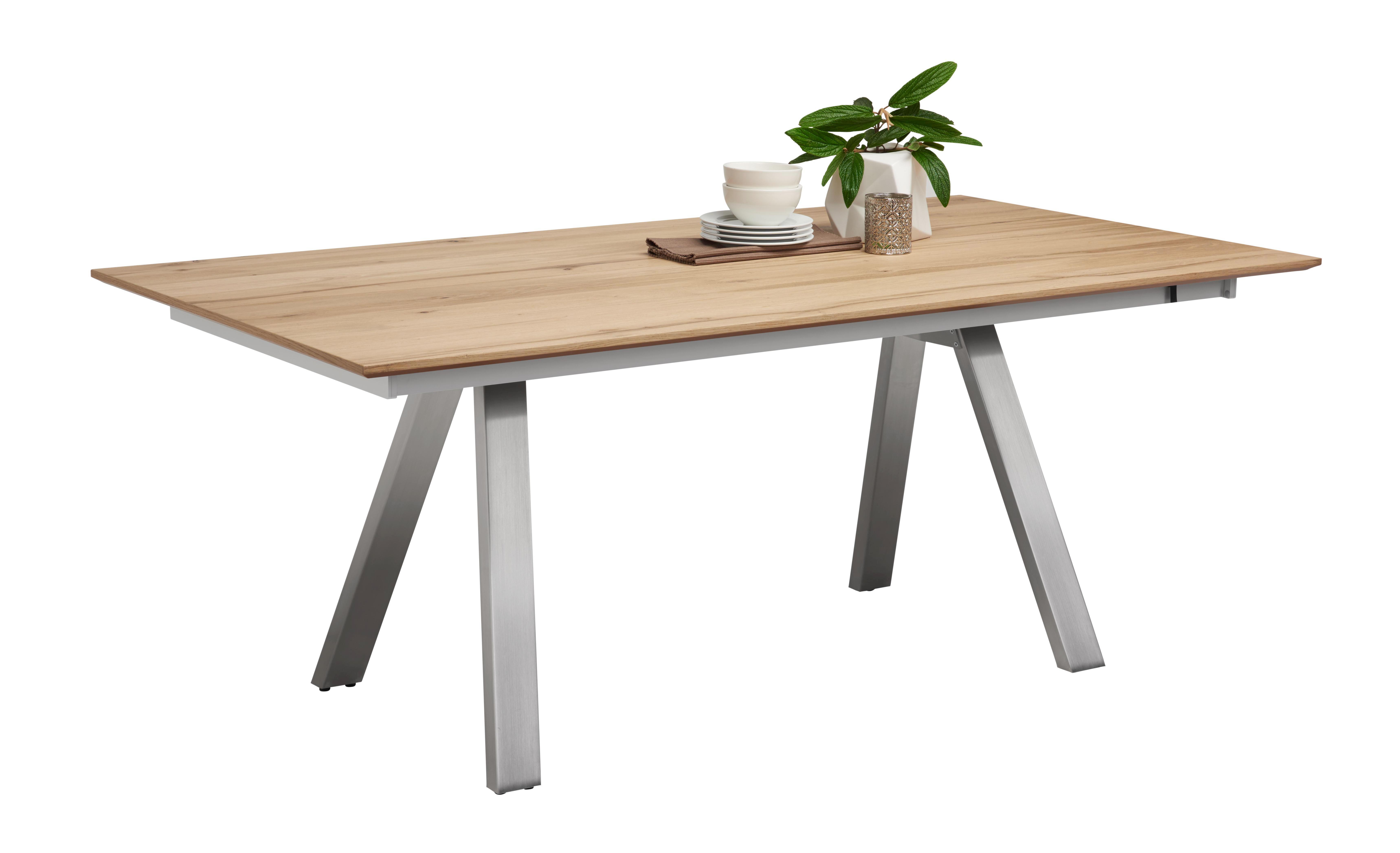 Geräumig Esstisch Holz Metall Dekoration Von Eiche Furniert Rechteckig Eichefarben With Ausziehbar With