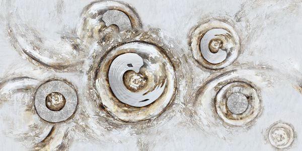 ÖLGEMÄLDE - Silberfarben/Braun, Basics, Holz/Textil (55/150cm)