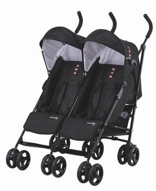 Side by Side  Knorr-Baby Zwillings-Buggy  Schwarz - Schwarz, Basics, Textil/Metall (65/72/107cm)