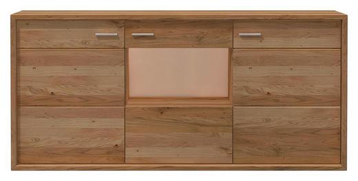 HIGHBOARD Eiche furniert, massiv geölt Eichefarben - Eichefarben/Nickelfarben, KONVENTIONELL, Holz/Holzwerkstoff (185,6/108,7/47,6cm) - Voleo