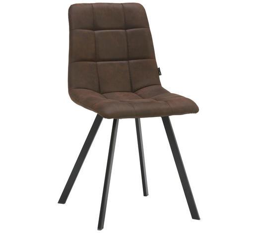 STUHL in Metall, Textil Braun, Schwarz - Schwarz/Braun, Design, Textil/Metall (48,5/88/59cm) - Carryhome