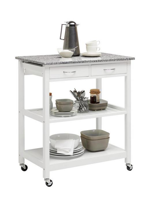 SERVIERWAGEN Stein Grau, Weiß - Weiß/Grau, Design, Stein (78/87/48cm) - Xora