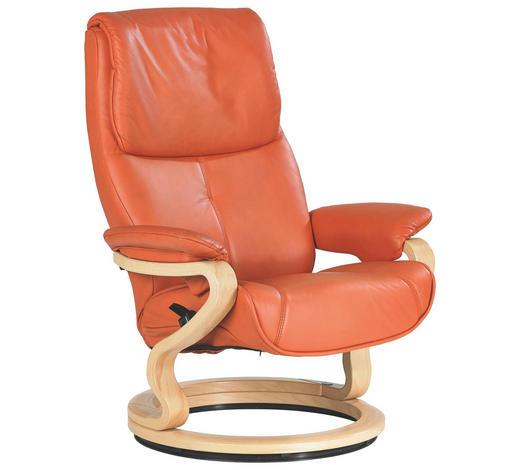 RELAXSESSEL in Holz, Leder Orange - Buchefarben/Orange, Design, Leder/Holz (84/105/86cm) - Himolla