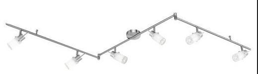 LED-DECKENLEUCHTE - Weiß/Nickelfarben, LIFESTYLE, Glas/Metall (193cm)