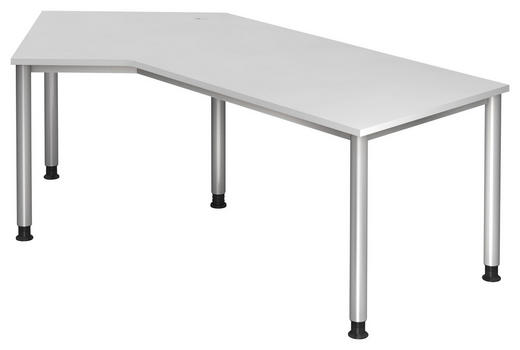 SCHREIBTISCH Weiß - Silberfarben/Weiß, KONVENTIONELL, Metall (210/68-76/113cm)