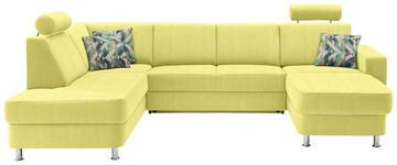 WOHNLANDSCHAFT in Textil Gelb - Chromfarben/Gelb, Design, Kunststoff/Textil (198/301/165cm) - Xora