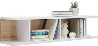 WANDBOARD in 125/28/27 cm Weiß, Eichefarben  - Eichefarben/Weiß, Design, Holzwerkstoff (125/28/27cm) - Hom`in