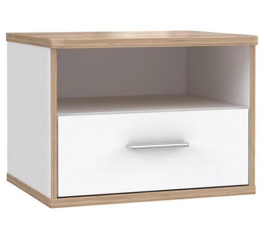 NOČNÍ STOLEK, bílá, barvy dubu - bílá/barvy dubu, Konvenční, kov/kompozitní dřevo (53,4/41,1/45,1cm) - Xora