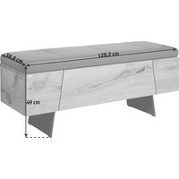 GARDEROBENBANK Echtleder Eiche furniert, mehrschichtige Massivholzplatte (Tischlerplatte) Eichefarben, Grau - Eichefarben/Dunkelgrau, Design, Leder/Holz (128,2/49,0/38,8cm) - VOGLAUER