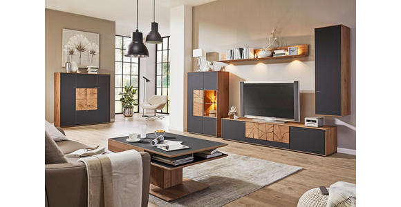 TV-ELEMENT Kerneiche massiv Eichefarben, Fango  - Fango/Eichefarben, Design, Glas/Holz (223/52/49cm) - Valnatura