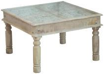 COUCHTISCH Mangoholz massiv quadratisch Weiß - Weiß, Trend, Glas/Holz (80/80/50cm) - Hom`in