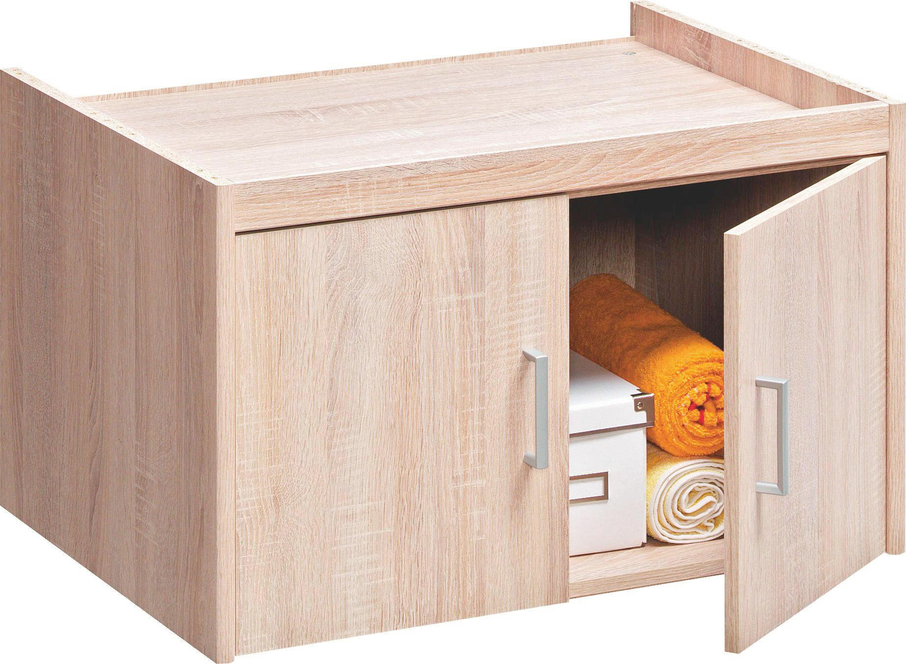 AUFSATZSCHRANK - Eichefarben/Silberfarben, KONVENTIONELL, Holzwerkstoff/Kunststoff (72/43/54cm) - CS SCHMAL