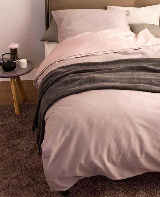 BETTWÄSCHE Makosatin Altrosa, Schlammfarben 135/200 cm - Schlammfarben/Altrosa, Textil (135/200cm) - Schöner Wohnen