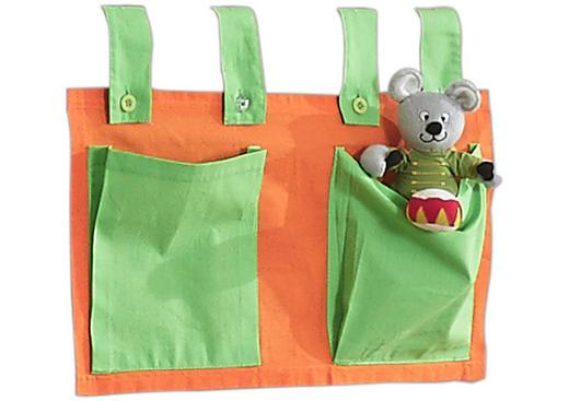 BETTTASCHE Grün, Orange - Orange/Grün, Design, Textil