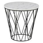 COUCHTISCH rund Weiß  - Schwarz/Weiß, Design, Stein/Metall (50/50/50cm) - Ambia Home