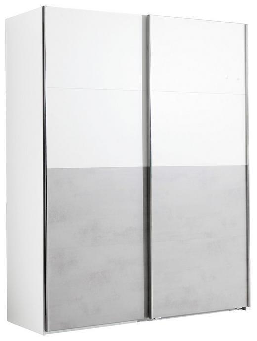 SCHWEBETÜRENSCHRANK 2  -türig Grau, Weiß - Edelstahlfarben/Weiß, Design, Holzwerkstoff/Metall (175/223/67cm) - Welnova