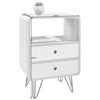 SÄNGBORD - vit/svart, Design, metall/träbaserade material (45/65/29,5cm) - Carryhome