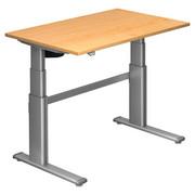 SCHREIBTISCH - Silberfarben/Ahornfarben, Design, Holzwerkstoff/Metall (120/66-130/80cm)