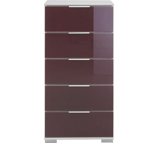 KOMMODE 49/102/41 cm - Brombeere/Alufarben, Design, Glas/Holzwerkstoff (49/102/41cm) - Carryhome
