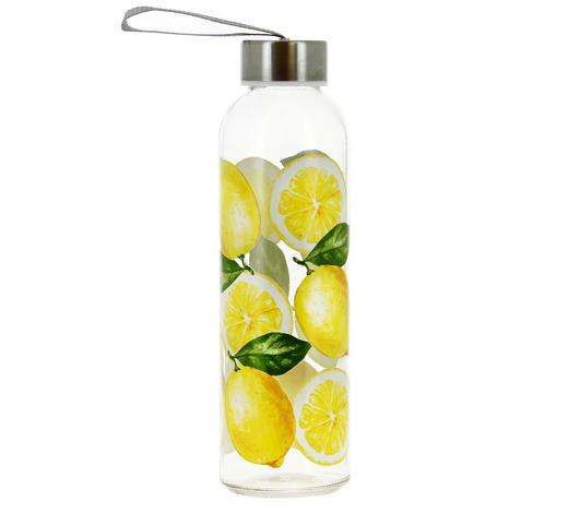 TRINKFLASCHE 0,5 L - Klar/Gelb, Trend, Glas/Kunststoff (0,5l)
