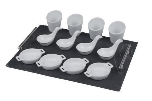 VORSPEISENSET 13-TEILIG Keramik, Stein - Anthrazit/Weiß, Basics, Keramik/Stein (40/30/7,6cm)