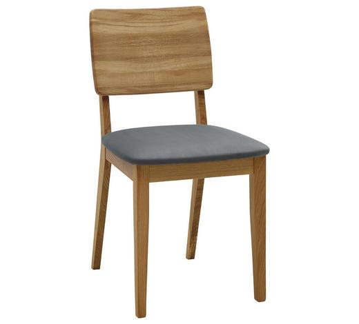 STUHL in Holz, Textil Grau, Eichefarben - Eichefarben/Grau, KONVENTIONELL, Holz/Textil (45/85/56cm) - Voleo