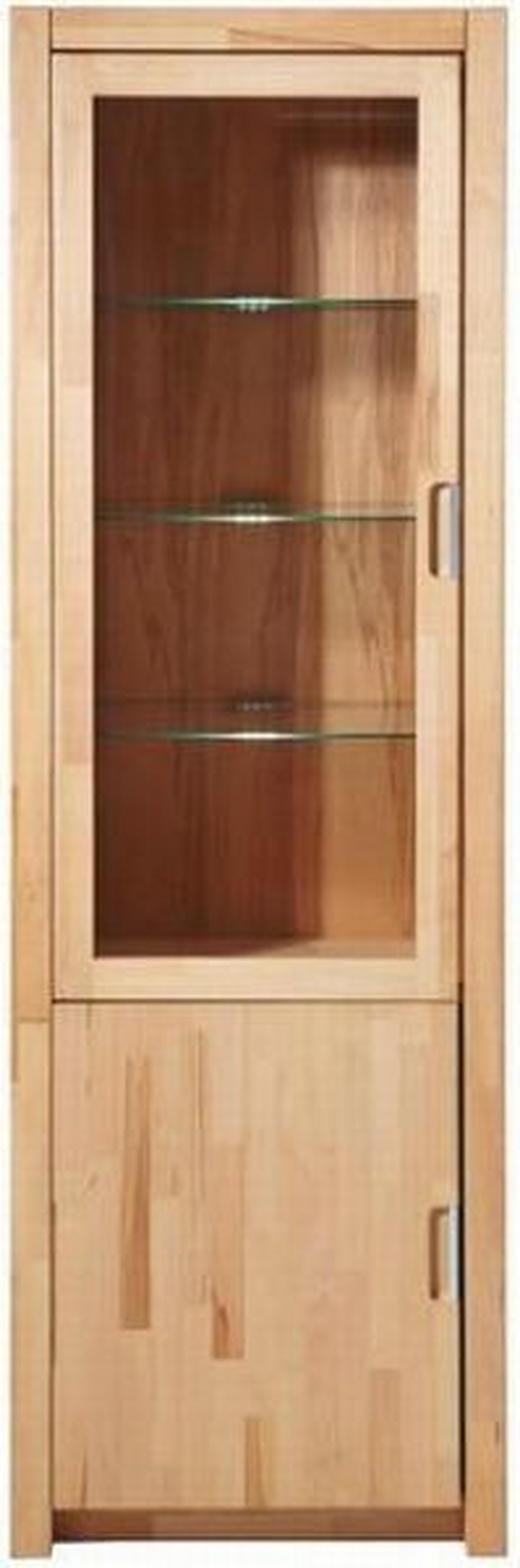 VITRINE Kernbuche furniert, massiv Buchefarben - Chromfarben/Buchefarben, Design, Glas/Holz (65,8/203,5/40cm) - Carryhome