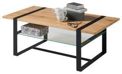 COUCHTISCH in Holz, Metall, Glas 110/60/41 cm   - Eichefarben/Schwarz, Design, Glas/Holz (110/60/41cm) - Hom`in