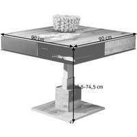 COUCHTISCH Altholz, Eiche massiv quadratisch Eichefarben - Eichefarben, Design, Glas/Holz (90/38,5-74,5/90cm) - VOGLAUER